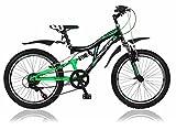 Frank Bikes 20 Zoll Kinderfahrrad Mountainbike Shimano 6 Gang Vollgefedert Fahrrad Jugendfahrrad Kinderrad Rad X-Treme Grünschwarz