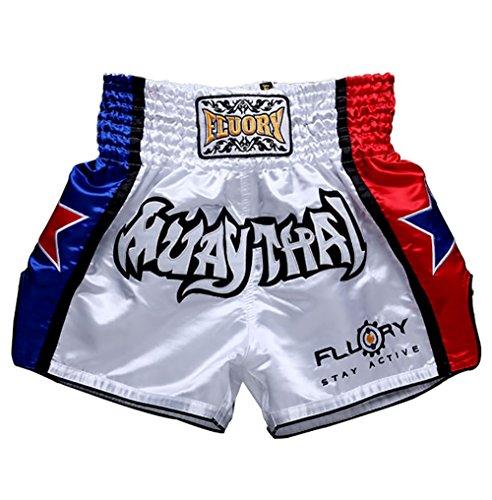FLUORY Short Muay Thai,Haute Qualité Short Boxe Thaï Short MMA Kick Boxing pour Femme Homme Enfant Compétition D'entraînement de Combat.