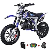 X-PRO Bolt 50cc Dirt Bike Gas Dirt Bike Kids Dirt Bikes Pit Bikes Youth Dirt Pitbike with Gloves, Goggle and Facemask,Blue
