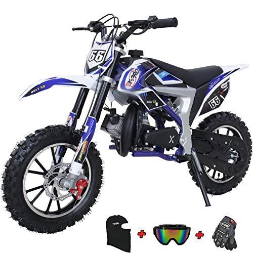 X-PRO Bolt 50cc Dirt Bike Gas Dirt Bike Kids Dirt Bikes Pit Bikes Youth Dirt Pitbike with Gloves, Goggle and Handgrip,Blue