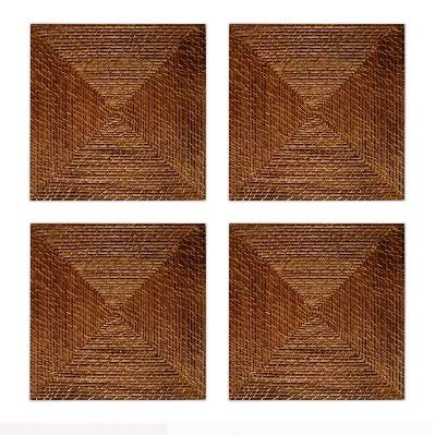 """Set of 4 Square Charger Plate Large 15"""" Decorative Rattan Plate for Home & Professional Fine Dining -for Upscale Catering Events, Dinner Parties, & Weddings, Light Brown"""