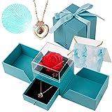 HMGDFUE Rose Eternelle, Cadeau Fete Des Meres Rose Artificielle Forever Rose avec Love You Collier boîte à Bijoux pour la Saint-Valentin fête des mères
