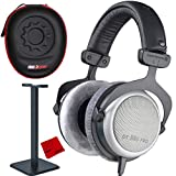 BeyerDynamic DT-880 Pro Headphones 250 Ohm (490970) Bundle with Deco Gear Full Size Padded Travel Hard Case, Headphone Stand & Microfiber Cleaning Cloth