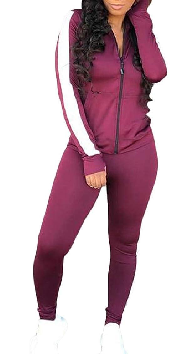 慈善ハーブ小切手女性セット セクシーな2ピース衣装トラックスーツ スウェットスーツ ジャケットパンツセット Purple US X-Small
