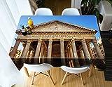 Rubyia Table Cloth Dining Table, Mantel Mesa el Edificio del Panteón Romano Tramas para Mesa Cocina, Poliester, 85 x 85 cm, Marrón