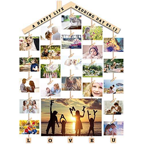 Uping Portafoto Parete Multiplo Cornice Foto Multipla Collage Appendi Foto con Mollette, con Adesivi per Personalizzazione (Lengo, 63CM * 90CM)