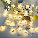 Linghuang Strisce LED Bianche Calde a Forma di Stella Luci Notturne a LED per Bambini, Camera da letto, Corridoio, Ghirlande, Matrimonio, Decorazioni Natalizie - Funzionamento a Batteria (20LED)
