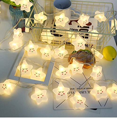Linghuang Sterne Lichterketten, 20 LEDs Warm Weiß String Lights Wasserdicht für Innen, Außen, Hochzeitsfeier, Weihnachtsbaum, Neujahr, Gartendekoration, Batteriebetriebene (nicht enthalten) (20 LED)