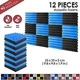 Arrowzoom 12 Panels Cuña Wedge absorción de sonido Espuma acústica Absorcion aislamiento acustico auto extinguible 25x25x5cm Negro & Azul