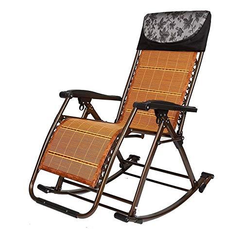Lounger Poltrona da Giardino all'aperto Sedia a Dondolo Pieghevole Lettino reclinabile sedie a Sdraio Sdraio per la Spiaggia Patio, Marrone