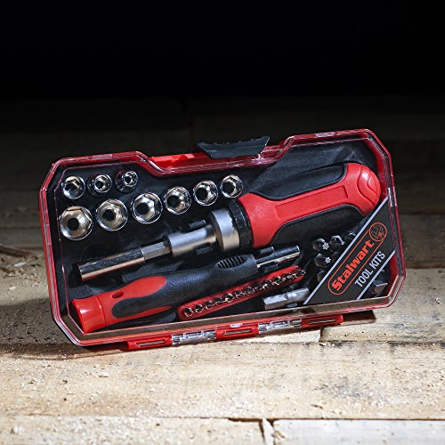 Ratcheting Screwdriver with 41 Piece Bit and Socket Set - Stubby Handle Multitool with Metric and SAE Drivers and Precision Bits