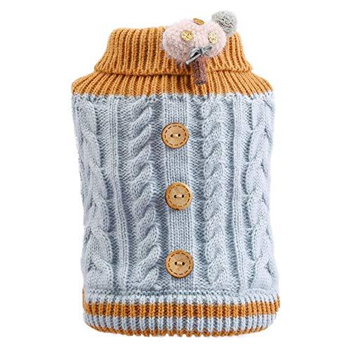 Suter suave y clido de cuello de tortuga con botones torcidos, lindo perro cachorro gato ropa de invierno acogedora disfraz, decorado con championes  azul XS