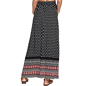 Milumia Women's Boho Vintage Print Pockets Side A Line Maxi Skirt