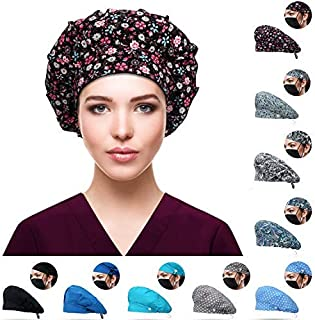 Purefitinsoles Working Cap with Button and Sweatband Adjustable Bouffant Hats for Women Men One Size (Secret Garden)
