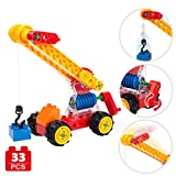 COGO MAN Crane Truck Toy with Worm Gear Unique Design, Assembly Preschool Building Blocks Engineering Vehicles with Rotatable Wheels, STEM Construction Trucks Toy for Boys and Girls, 33pcs
