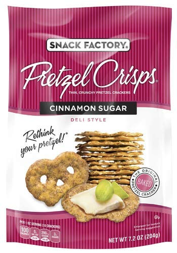 Snack Factory Pretzel Crisps, Cinnamon Sugar (Pack of 4)