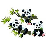 Wandtattoo Pandabär 3er-Set I niedliches Wandtattoo Kinderzimmer I Größe: 53x80 cm I Wandtattoo Bär, Wandtattoo Kinder