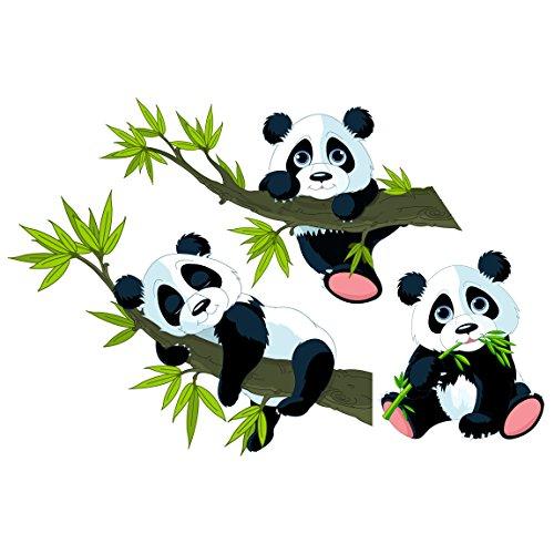 Wandsticker Panda Bär 3er-Set I niedliches Wandtattoo Kinderzimmer I Größe: 30x45 cm I Wandtattoo Kinderzimmer Panda, Wandsticker Pandabär