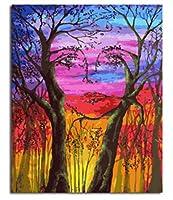 WEIFENGX油絵 数字キットによる絵画 塗り絵 大人 手塗り DIY絵 デジタル油絵 フレームレス 40x50cm - 抽象的な人間の顔の木
