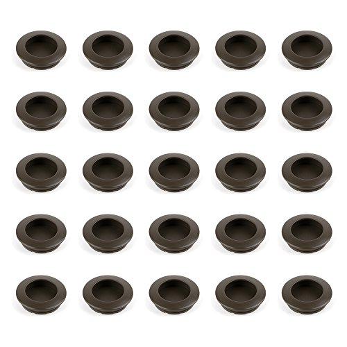 Emuca - Tirador empotrado circular Ø41mm para muebles, tirador uñero para cajones y armarios, color moka, Lote de 25