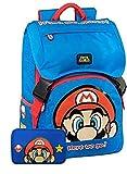 Panini spa Schoolpack Zaino Scuola Super Mario Estensibile Blu 42x30x15 cm + Astuccio 3 Zip