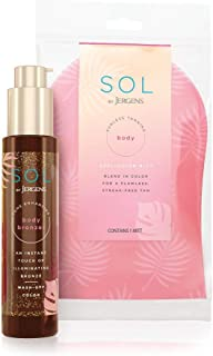 SOL by Jergens Self Tanner Body Bronzer, For All Unique Skin Tones, Sunless Tanning, 3.4 Ounce w/ Self Tanner Applicator M...