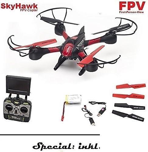 SkyHawk XXL Quadrocopter mit HD Kamera und FPV Bild-übertragung, Bis 200 Meter ReichWeiße   Mit 6-Achs Gyroscope-stabilisierung für extrem stabiles Flugverhalten  Inklusive 4 sehr stabile Rotorschützer