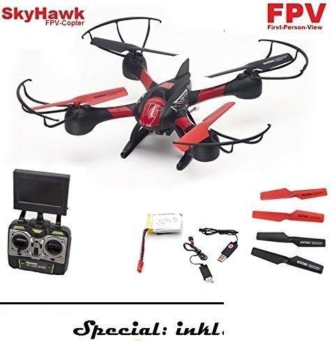 SkyHawk XXL Quadrocopter mit HD Kamera und FPV Bild-Übertragung, Bis 200 Meter Reichweite!! Mit 6-Achs Gyroscope-stabilisierung für extrem stabiles Flugverhalten! Inklusive 4 sehr stabile Rotorschützer!