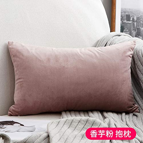 Nordic pillows Living room sofas Bedside pillows Chairs Office lumbar pillows Velvet pillowcases@Solid color - citron powder rectangle_55x55cm (pillowcase)
