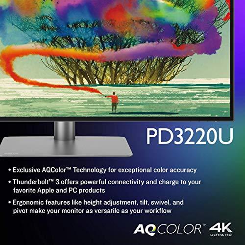 BenQ PD3220U 32 inch 4K Monitor IPS, HDR, AQCOLOR, Display P3, DCI-P3, sRGB, Rec.709, Hotkey Puck G2, Eye-Care, ICC sync, Thunderbolt 3 for Mac users, Grey