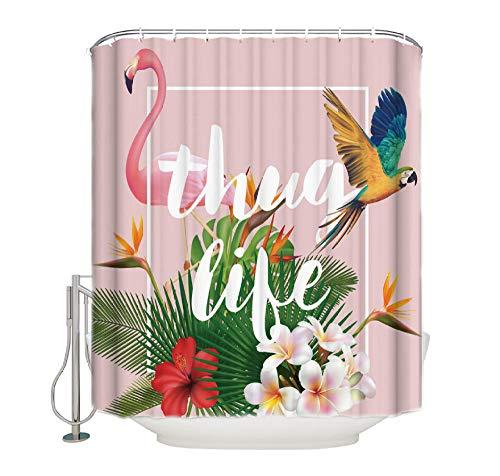 WIXIJAWR Flamingo Parrot Tropical Plant Thug Life Cortina De Ducha Impermeable Cortina De Baño 200X180Cm