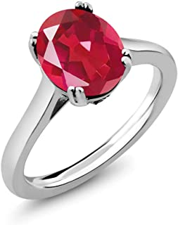 Gem Stone King 3.63 Ct Oval Last Dance Pink Mystic Quartz White Diamond 925 Sterling Silver Solitaire Ring