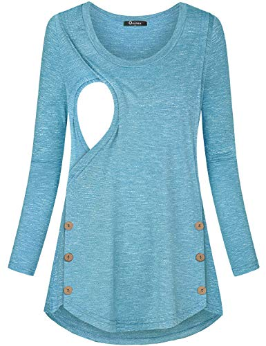 Quinee Nursing Pajamas for Hospital, Lightweight Not See Through Round Neck Long Sleeve Maternity Shirts Layering Breastfeeding Tops Relaxed Fit Ladies Spring Everyday Wear Blue M