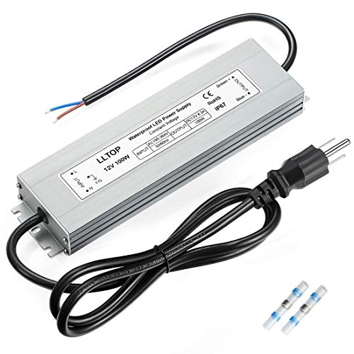LLTOP LED Driver 100 Watts Waterproof IP67 Power Supply AC100-264V to 12V DC 8.3A Low Voltage Transformer Ultra Thin Adapter for Outdoor LED Lights, Computer Project