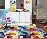 Tappeto Moderno di Lana Festival multicolore 120x170cm - 100% pura lana vergine in colori luminosi e moderni