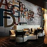 WHYBH 3D Wandbild Wohnzimmer Tapete Selbstklebend (B) 350X (H) 256Cm Europäische Stereo 3D Graffiti Buchstaben Retro Straße Felswand Papier Wandbild Restaurant Bar Ktv Hintergrund Tapete...