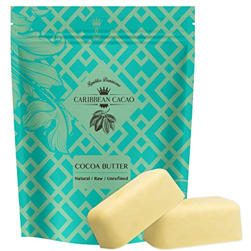 Caribbean Cacao Ultimate Cocoa Butter - Delightfully Rich Scent & Highest Quality, From our exclusive source in the Dominican Republic. Body Butter Bar For Stretch Marks, Dry Skin, Acne etc (2 Pound)