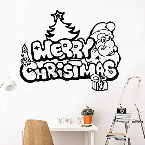 Ajcwhml Frohe Weihnachten Applique Lustige Santa Weihnachtsbaum Geschenk Wandtattoo Vinyl Glas Fenster Wanddekoration Aufkleber Kunstwand