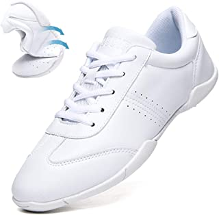 DADAWEN Women's Celebration Shoes Training White Cheerleading Shoes