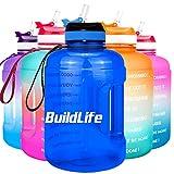 BuildLife Botella de agua motivadora de 2,2 l, con pajita y marcador de tiempo para beber diariamente, sin BPA, reutilizable, para gimnasio, deportes al aire libre (azul, 2,2 L)