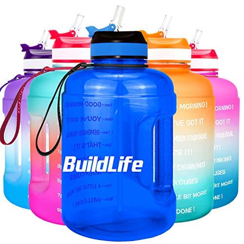 BuildLife - Bottiglia d'acqua motivazionale da 2,2 l, con cannuccia e indicazione del tempo per bere tutti i giorni, senza BPA, riutilizzabile, per palestra, sport,