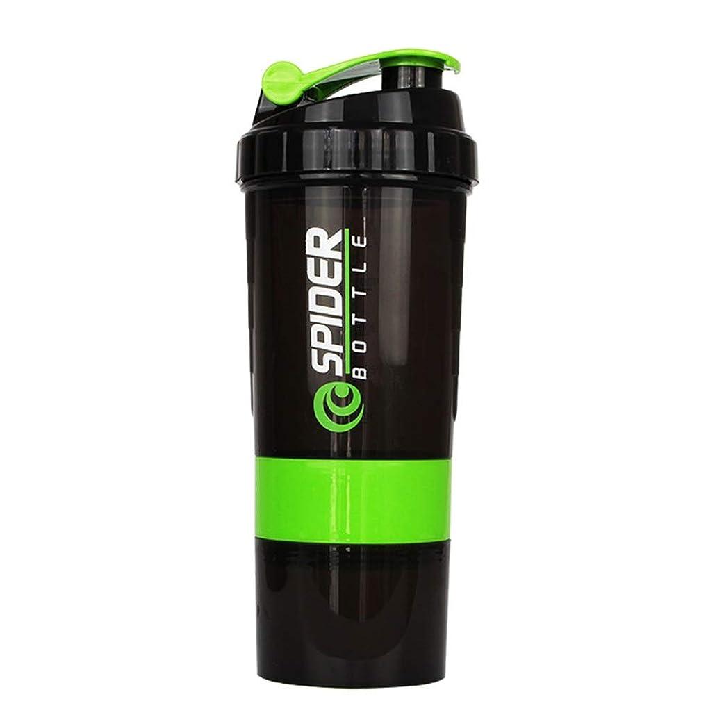 筋肉の誇張ジャンプするプロテインシェイカー 500ml 多機能 シェーカーボトル (グリーン)