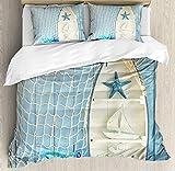Juego de funda nórdica náutica, objetos marinos sobre fondo de madera con foto de red de pesca de concha de estrella de mar vintage, juego de cama decorativo de 3 piezas con 2 fundas de almohada, crem