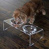 ホクリク総業 アクリル製ペットフードテーブル 幅37cm 奥行20cm