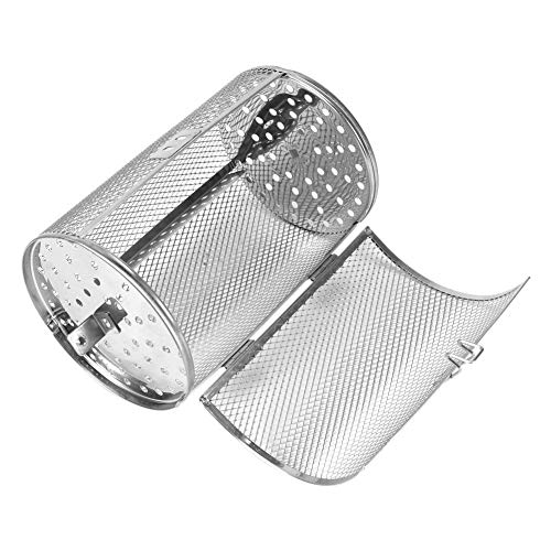 Wifehelper Stainless Steel Rotisserie Grill Roaster Drum Oven Basket Bakeware Oven Roast Baking Rotary Nuts Beans Peanut Basket BBQ Grill 12x18cm…