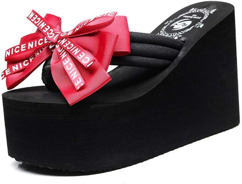 Sakisa Women's Summer Bow Wedges Heighten Casual wear Non-Slip Wild Beach flip Flops