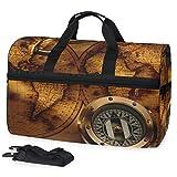 Bolsa de viaje grande con diseño de mapa retro para el fin de semana durante la noche, bolsa de gimnasio, bolsa de deporte con compartimento para zapatos