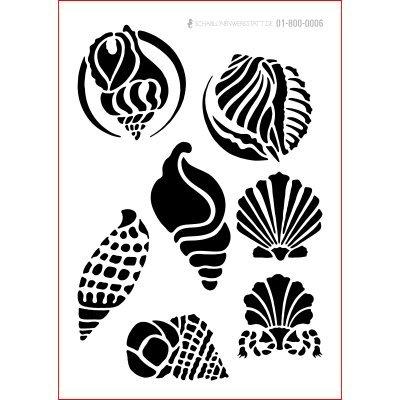 graphits Schablone Shabby Chic Kreativbaukasten maritim, 01-800-0006, Muscheln als Wandschablone, Textilschablone, Möbelschablone, Keilrahmengestaltung und Deko, Größe anpassbar