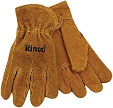 KINCO 50-C Suede Cowhide Gloves, Shirred Back, Keystone Thumb (Ages 3-6), Child, Golden by KINCO INTERNATIONAL