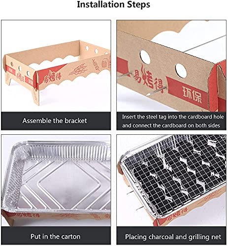 51eS2V24LFS. SL500  - AACXRCR Grill-Werkzeug-Set, Einweg-Grill, Edelstahl, tragbarer Grill, Outdoor-Holzkohlegrill für Picknick, Terrasse, Hinterhof, Camping, Kochen (Größe: 32 x 21 x 11 cm)